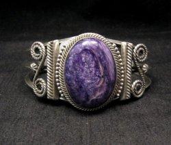 Navajo Native American Purple Charoite Silver Bracelet, Gilbert Tom