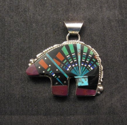 Image 0 of Native American Navajo Indian Multigem Inlaid Cosmic Bear Pendant, Ray Jack