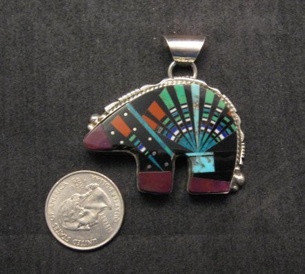 Image 1 of Native American Navajo Indian Multigem Inlaid Cosmic Bear Pendant, Ray Jack