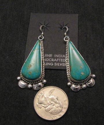 Image 1 of Navajo Kingman Turquoise Silver Earrings, Gilbert Tom