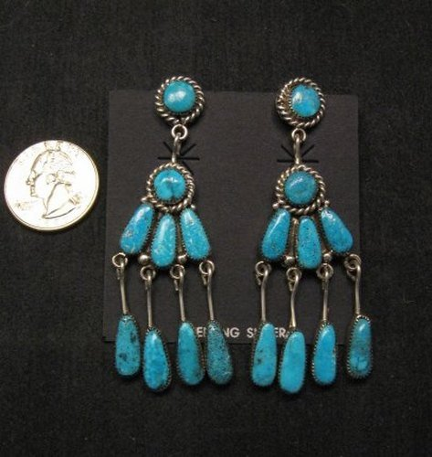Image 0 of Robert & Bernice Leekya Zuni Turquoise Chandelier Earrings