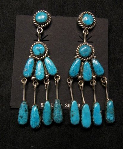 Image 1 of Robert & Bernice Leekya Zuni Turquoise Chandelier Earrings