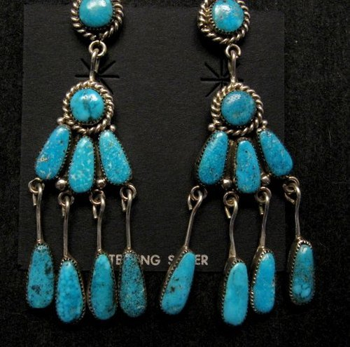 Image 2 of Robert & Bernice Leekya Zuni Turquoise Chandelier Earrings