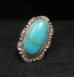 Native American Navajo Kingman Turquoise Ring Sz8-1/2, Augustine Largo