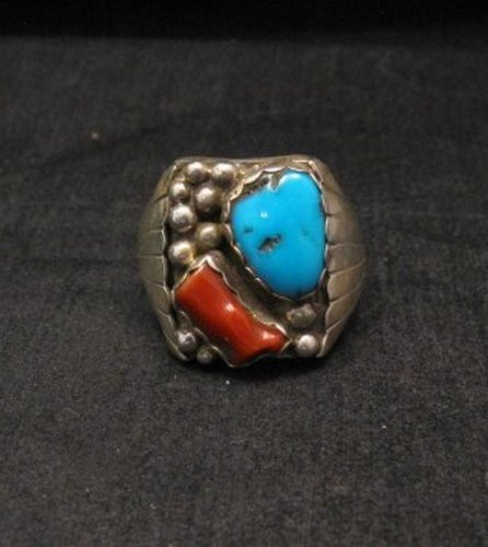 Image 0 of Navajo Native American Turquoise & Coral Sterling Silver Mens Ring sz13-1/2
