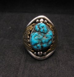 Big Navajo Indian Native American Turquoise Silver Brass Ring sz12