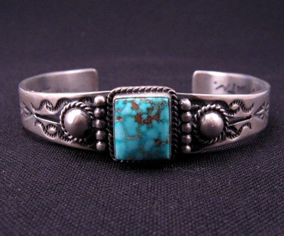 Image 1 of Andy Cadman Navajo American Indian Turquoise Silver Bracelet