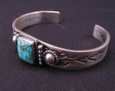 Image 3 of Andy Cadman Navajo American Indian Turquoise Silver Bracelet