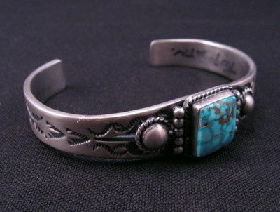 Image 4 of Andy Cadman Navajo American Indian Turquoise Silver Bracelet