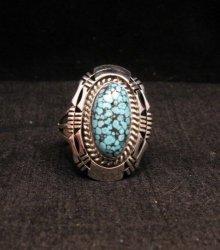 Native American Navajo Kingman Web Turquoise Silver Ring Sz8