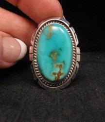 Native American Indian Navajo Kingman Turquoise Silver Ring Sz8-1/2