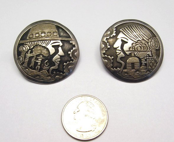 Image 2 of Vintage Navajo Indian Sterling Silver Pin and Earrings by ML Slim