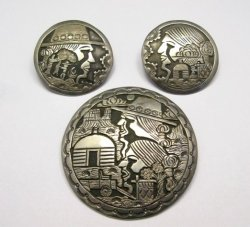 Vintage Navajo Indian Sterling Silver Pin and Earrings by ML Slim