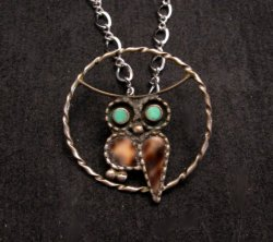 Vintage Native American Inlaid Owl Pendant w/ SS chain, Paul Lucario Jr