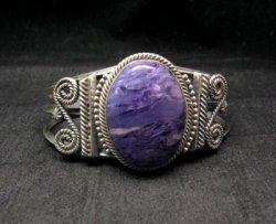 Navajo Native American Charoite Sterling Silver Bracelet, Gilbert Tom