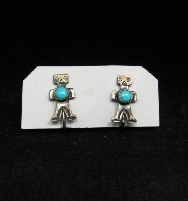 Image 0 of Vintage Fred Harvey Era Turquoise Silver Kachina Yei Earrings Screw-backs