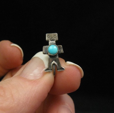 Image 1 of Vintage Fred Harvey Era Turquoise Silver Kachina Yei Earrings Screw-backs