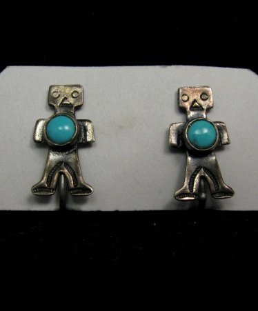 Image 3 of Vintage Fred Harvey Era Turquoise Silver Kachina Yei Earrings Screw-backs