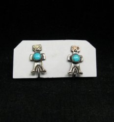Vintage Fred Harvey Era Turquoise Silver Kachina Yei Earrings Screw-backs