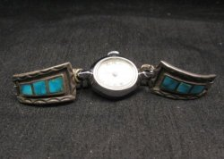 Vintage Native American Turquoise Inlay Watch Tips - Womans