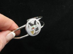 Sanford Edaakie Zuni Native American Inlaid Hummingbird Silver Bracelet