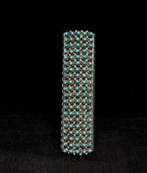 Zuni Indian Turquoise 20row 100stones Snake Eye Ring Steven Haloo sz7-1/2