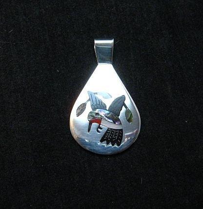 Image 1 of Sanford Edaakie, Zuni, Inlaid Hummingbird Silver Pendant
