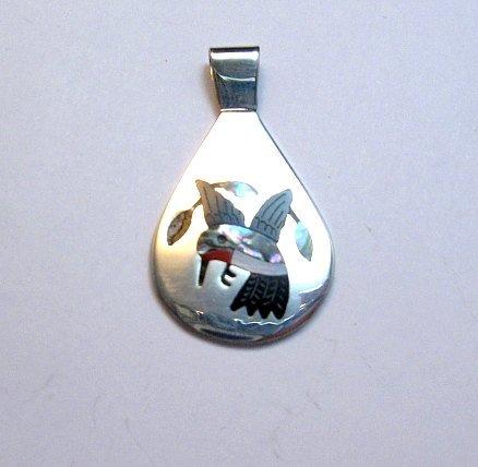 Image 0 of Sanford Edaakie, Zuni, Inlaid Hummingbird Silver Pendant