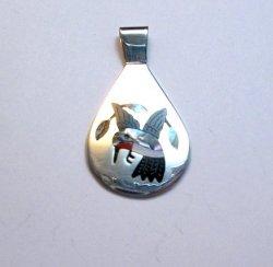 Sanford Edaakie, Zuni, Inlaid Hummingbird Silver Pendant