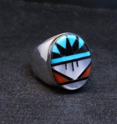 Image 1 of Zuni Native American Multi Stone Inlay Ring, Gladys Lamy Sz11-1/2