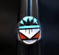Zuni Native American Multi Stone Inlay Ring, Gladys Lamy Sz11-1/2