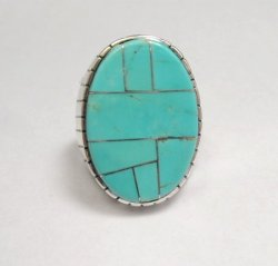 Ray Jack, Navajo, Turquoise Inlay Sterling Silver Mens Ring Sz12
