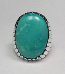Navajo Native American Turquoise Silver Ring, Ray Jack, Sz12