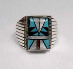 Navajo Native American - Sam Begay - Multi-Stone Inlay Silver Ring Sz12-1/2