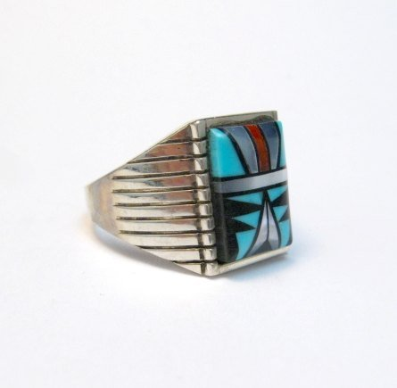 Image 2 of Navajo - Sam Begay - Multi-Gem Inlay Sterling Silver Ring Sz13-1/4