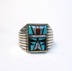 Navajo - Sam Begay - Multi-Gem Inlay Sterling Silver Ring Sz13-1/4