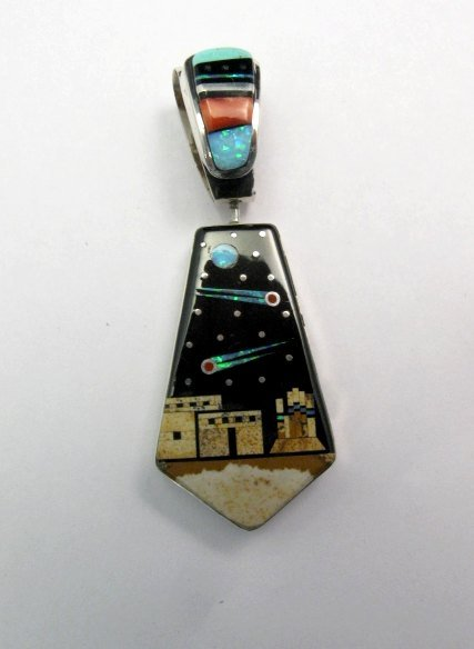 Image 0 of Reversible 2-sided Navajo Inlaid Night Sky Pueblo Monument Valley Pendant