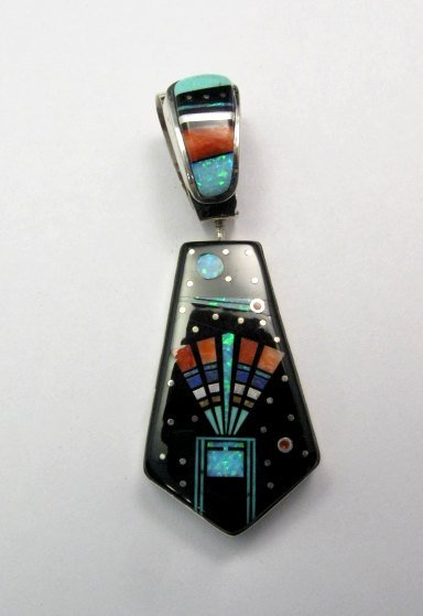 Image 1 of Reversible 2-sided Navajo Inlaid Night Sky Pueblo Monument Valley Pendant