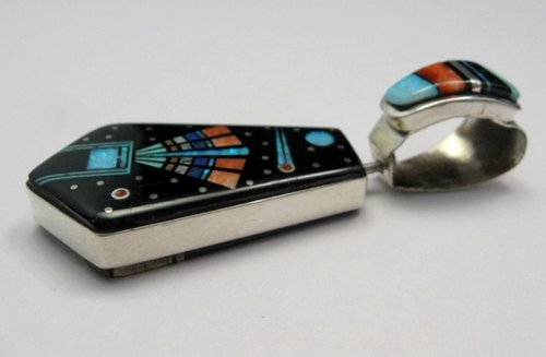 Image 2 of Reversible 2-sided Navajo Inlaid Night Sky Pueblo Monument Valley Pendant