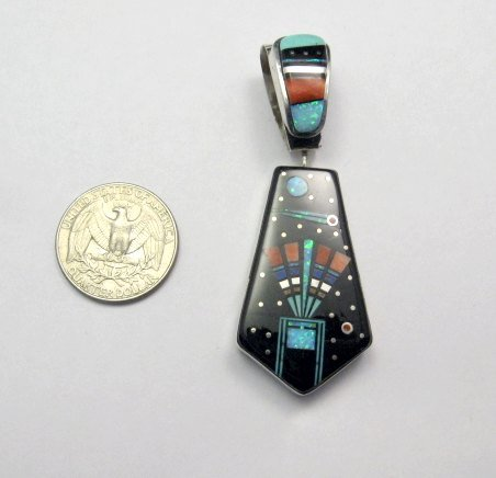 Image 3 of Reversible 2-sided Navajo Inlaid Night Sky Pueblo Monument Valley Pendant