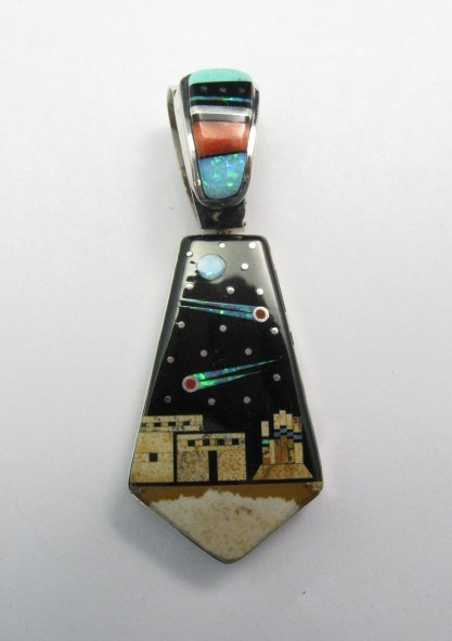 Image 4 of Reversible 2-sided Navajo Inlaid Night Sky Pueblo Monument Valley Pendant