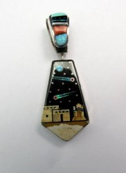 Reversible 2-sided Navajo Inlaid Night Sky Pueblo Monument Valley Pendant