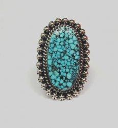 A++ Native American Navajo Natural Kingman Web Turquoise Ring Sz7-1/2