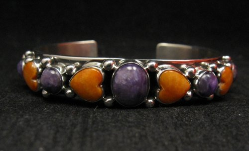 Image 0 of Colorful Navajo Spiny Oyster Hearts Sterling Silver Bracelet Happy Piasso