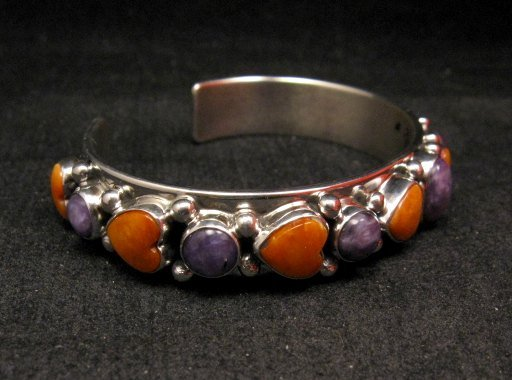 Image 1 of Colorful Navajo Spiny Oyster Hearts Sterling Silver Bracelet Happy Piasso