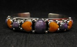 Colorful Navajo Spiny Oyster Hearts Sterling Silver Bracelet Happy Piasso