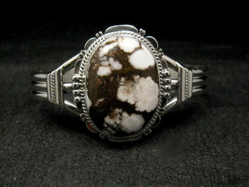 Image 0 of Navajo Native American Wild Horse Sterling Silver Bracelet, John Nelson