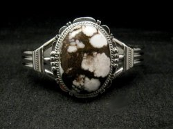 Navajo Native American Wild Horse Sterling Silver Bracelet, John Nelson