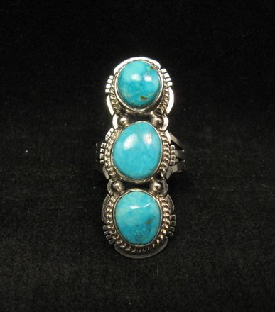 Image 0 of Native American Navajo 3-stone Turquoise Silver Ring, Sampson Jake, sz 6-3/4