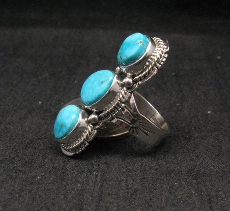 Image 1 of Native American Navajo 3-stone Turquoise Silver Ring, Sampson Jake, sz 6-3/4
